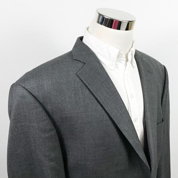 Sarar Mens 46R Sport Coat Gray Wool Two Button
